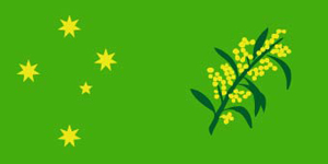 Flag design with wattle