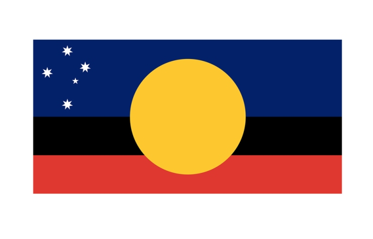 Another design incorporating the Aboriginal flag, keeping the sun and keeping blue and red separate.